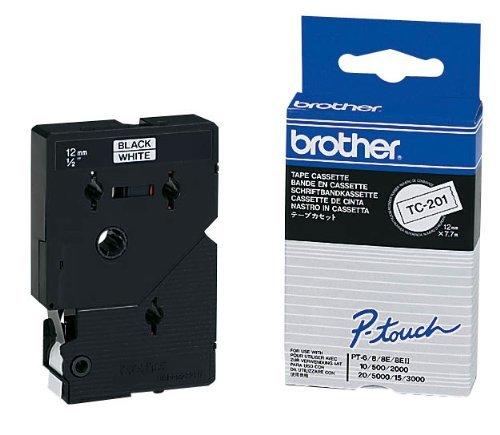 brother Beschriftungsband TC-201 / 12 mm / Druck schwarz / Band weiß / für brother P-touch 8e, 500, II, 2000, 3000, 5000