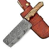 Cuchillo Cocina Hacha Cocina Acero De Damasco 11.00 Pulgadas Cuchillo Chef Cuchillos Carne Cuchillo Profesional Viene Con Funda De Cuero EL104