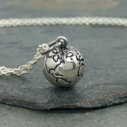 Tiny Earth World Globe 3D Charm Necklace - 925 Sterling Silver, 18""