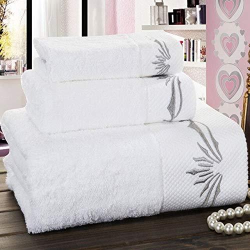 IAMZHL Nuevas Toallas de baño de algodón Bordado Blanco Star Hotel Juegos de Toallas de baño de Lujo Toalla de Mano Suave Absorbente-White-2-2pcs 34x70 70x140