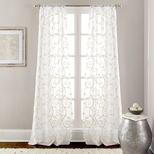 Amrapur Overseas 2 Pack 37 x 84 inch Embroidered Sheet Panel Curtains, Standard, Ivory