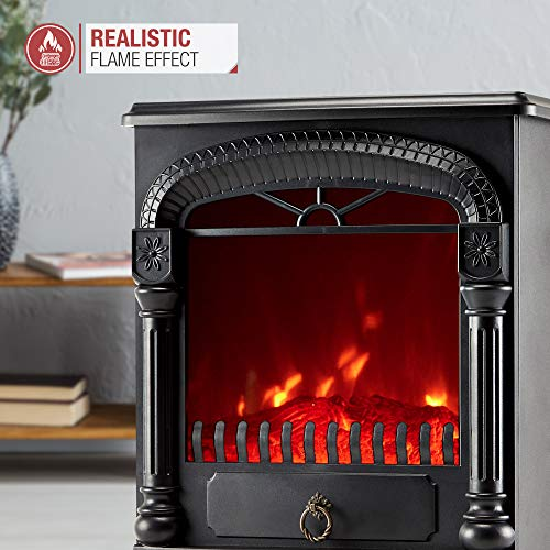 NETTA Electric Fireplace Stove Heater with Log Wood Burner Effect - 2000W with Fire Flame Effect, Arch Design, Freestanding Portable, Wood Burning LED Light - Black