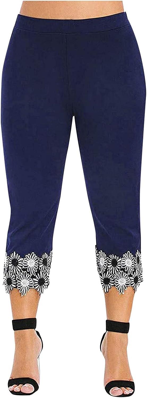 Maryia Modal Capri Pants for Women Plus Size Lace Trim Hem Leggings Soft Knee Stretch Active Skinny Yoga Tights