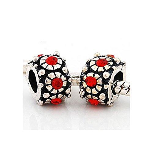 Andante-Stones - 925, Cuenta de Plata Flores con 6 Cristales de Vidrio Rojos, Elemento Bola para Cuentas European Beads + Saco de Organza