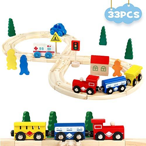 Symiu Circuit Train Bois Enfant Puzzle Bois Jouet Assemblage Chemin de Fer en Bois Trains véhicules Rails Pack (33pcs)