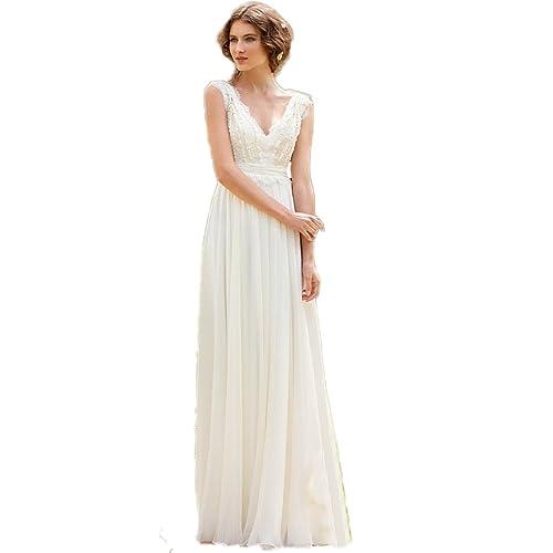 028cbcc2852d CoCogirls Braut Chiffon V-Ausschnitt Cap Sleeve Kleid Bohemien Strand  Hochzeitskleider Brautkleider Abendkleid