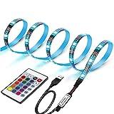 Retroilluminazione TV LED, illuminazione TV LED 2M, striscia LED USB, illuminazione TV LED RGB con telecomando a 24 tasti, per TV 40-60 pollici, monitor PC, luce specchio, illuminazione d'atmosfera
