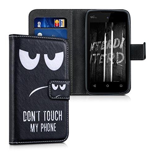 kwmobile Wallet Hülle kompatibel mit Wiko Sunny - Hülle mit Ständer Kartenfächer Don't Touch My Phone Weiß Schwarz