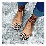 XYY Zapatos de Verano para Mujeres Sandalias de Encaje de Leopardo con Toes Abiertos Diseñador cómodo PU Sandalias de Cuero para Mujer (Color : D, Size : 41)
