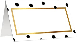 Polka Dot Place Cards (50 Pack) Black & White Blank Placecards Scored Folded Tented 3.5