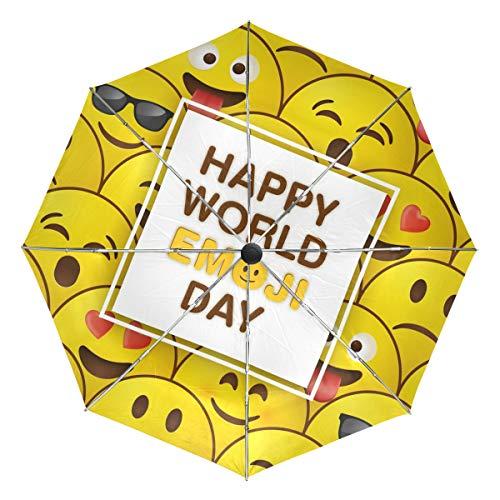 Wamika World - Paraguas automático para el día de los Emojis con Cara Amarilla, Resistente al Viento, Impermeable, protección UV, 3 Pliegues