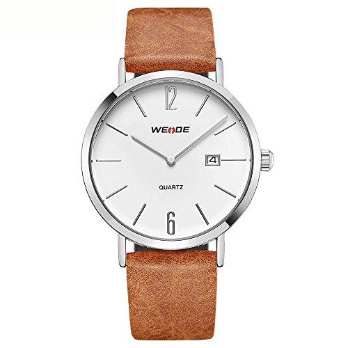 CursOnline Reloj de pulsera para hombre WD007 clásico deportivo con fecha movimiento de cuarzo japonés AL32 original correa auténtica piel marrón resistente al agua garantía oficial