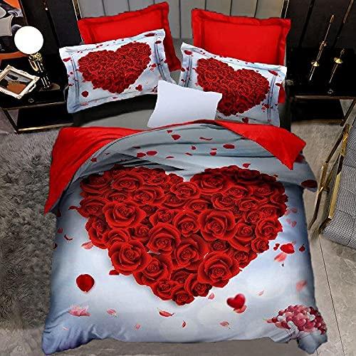 Funda Nordica Cama 135 220x240 cm Rosa roja del Amor Ropa De Cama, Microfibra Suave con Cremallera, 1 Funda de edredon con 2 Fundas De Almohada 50x75 cm
