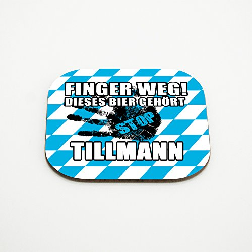 Untersetzer für Gläser mit Namen Tillmann und schönem Motiv - Finger weg! Dieses Bier gehört Tillmann