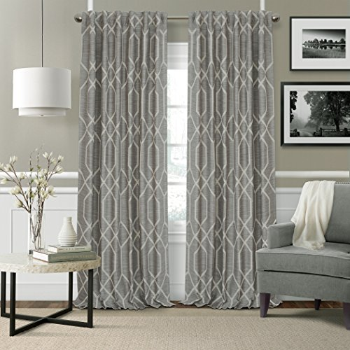 "Elrene Home Fashions 22796GRY Devin Single Blackout Window Curtain Panel, 52"" W X 95"" L, Gray"