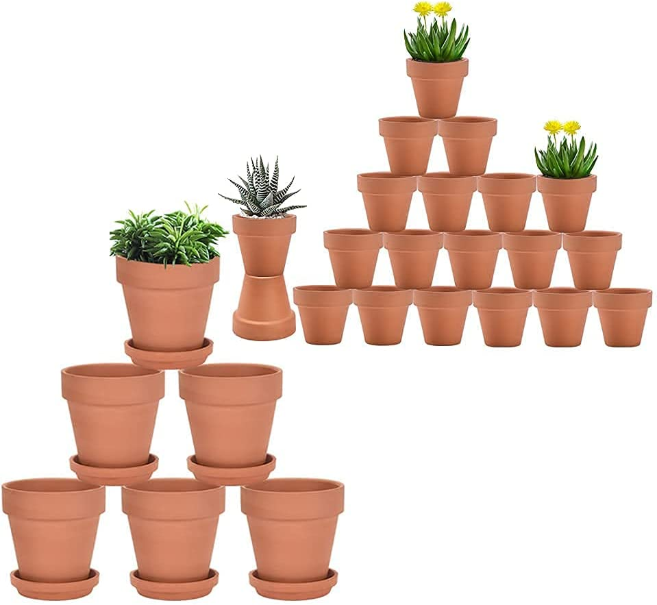 Very popular 4 3 Max 46% OFF inch Terracotta pots with Pcs Saucer Pot Clay 26 Ceramic
