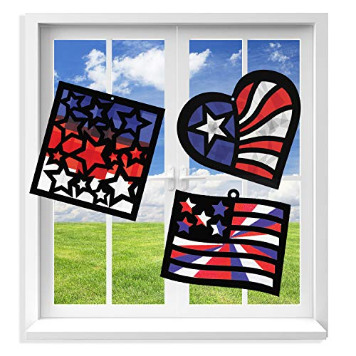 VHALE Suncatcher Kit for Kids, 3 Sets of Stained Glass Effect Paper Suncatchers (9 Cutouts, 27 Tissue Papers), Window Art, Classroom Arts and Crafts, Great Travel Toys, Party Favors (Patriotic)