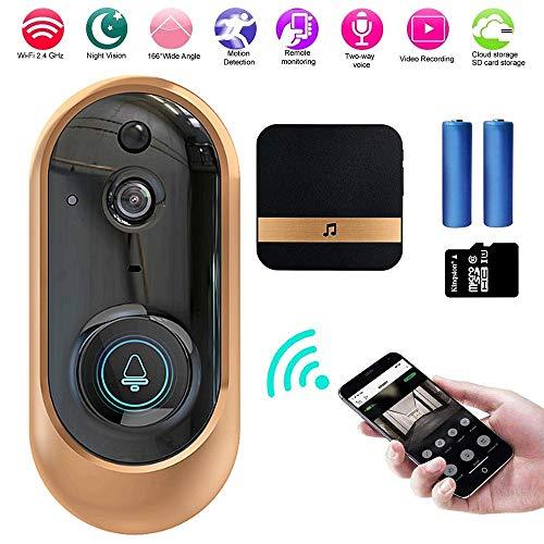 Smart Deurbel Camera Draadloos, Deurbel Camera Wi-fi, 720P HD Video Wifi, Home Beveiliging Systeem Waterdicht met Monitoring, PIR Bewegingsdetectie, Nachtzicht, Twee-weg Talk