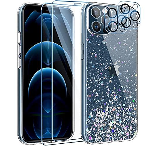 Leathlux Funda Compatible con iPhone 12 Pro MAX+2 Pack Protector Pantalla Cristal Templado+2 Pack cámara Protector de Pantalla,Purpurina Transparente Silicona Carcasa Anti-arañazos Caso