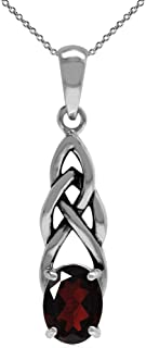 Natural Gemstone 925 Sterling Silver Celtic Knot Solitaire Pendant with 18 Inches Chain Necklace