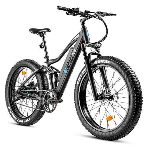 eAhora AM200 26'X4.0' Fat Tires 500W Full Air Suspension Electric Mountain Bike Dual Hydraulic Brakes 48V 10.4Ah Battery E-PAS Tech 9 Speed Shimano Transmission System Colored Display Screen