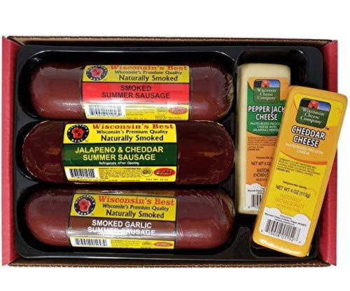 Wisconsin's Best & Wisconsin Cheese Company, Premium Sampler Gift   100% Wisconsin Cheddar Cheese   Original, Garlic, Spicy Sausage   Birthday   Thank you   Gift