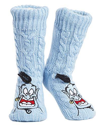 Disney Mickey Minnie Winter Socken, Kuschelsocken Damen Mädchen Warm Ultra-Bequeme Hausschuhsocken Antirutsch Flauschigem Sherpa-Futter, Tolles Geschenk für Mama (Das Aladdin Genie)