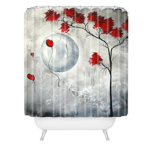 Grey and Red Tree Shower Curtain