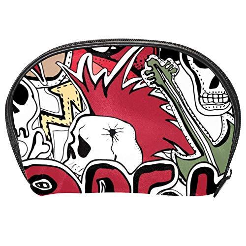 Bennigiry Crazy Punk Rock Abstracto Calaveras Pines Guitarras Disco Estrellas Labios Cosméticos Bolsa Organizador para Mujeres Kit de Viaje con Cremallera Multifunción Neceser Bolsas de Almacenamiento