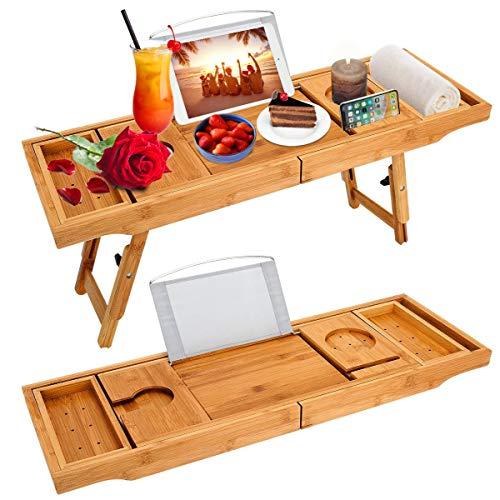 Gunolye Bañera Caddy & Laptop cama escritorio – 2 en 1, bandeja de bañera con jabonera y cómoda extras, bandeja para la bañera con smartphone y soporte para copa de vino (ampliable/bambú)