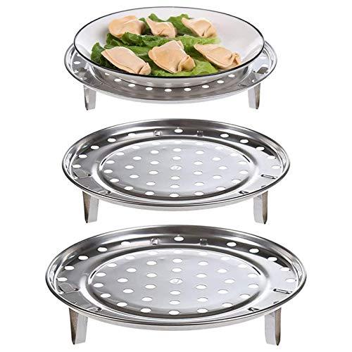 3 Pezzi Griglia per la Cottura a Vapore in Acciaio Inossidabile Porta Vapore Universale Rotondo Accessori la Cottura del ripiano del Vassoio del Vapore,con Gambe Rimovibili,per Cucina