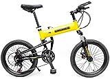 NDYD Biciclette di Viaggio Bici Adulta Folding Mountain Bike Giovanile all'aperto Alpinismo Bicicletta Scuola Media velocità Via Biciclette (Colore: Bianco, Dimensione: 20inch) DSB
