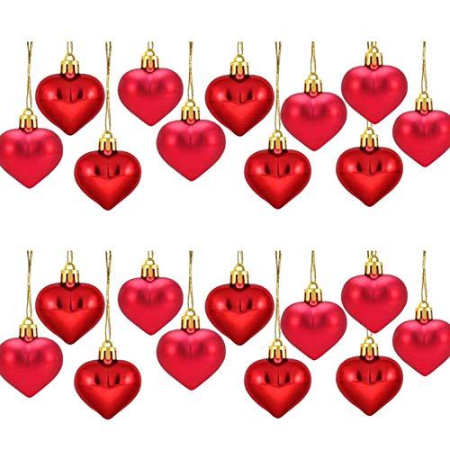 Feichanghao - Lote de 24 bolas de árbol de Navidad en forma de corazón, adornos colgantes para la decoración de fiesta de boda, vacaciones