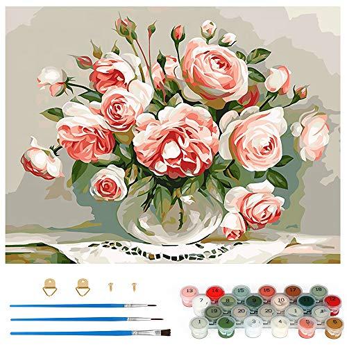Pintar por Numeros, Pintura por Números Rosa Rosada Kits, Cuadro Pintar con Numeros para Adultos/Niños, Pintar por Números Decoraciones para el Hogar (Sin Marco, 40x50CM)