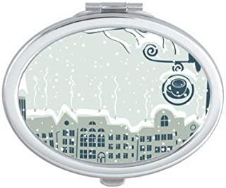 DIYthinker Snow Tree Bird City Streetlight Oval Compact Makeup Mirror Portable Cute Hand Pocket Mirrors Gift Multicolor