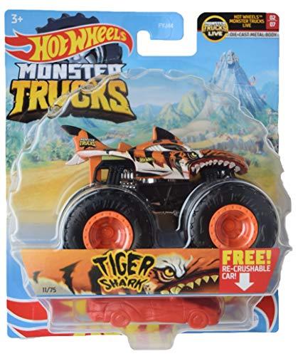 Hotwheels Monster Trucks Tiger Shark, coche triturable Re gratis escala 1:64