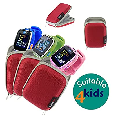 Navitech Red Water Resistant, Child Resistant, Hard Case Cover Compatible With The VTech Kidizoom Smartwatch