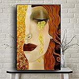 fdgdfgd Resumen Gustav Klimt (Gustav Klimt) lágrimas y Besos Dorados como decoración de póster de Lienzo Famoso