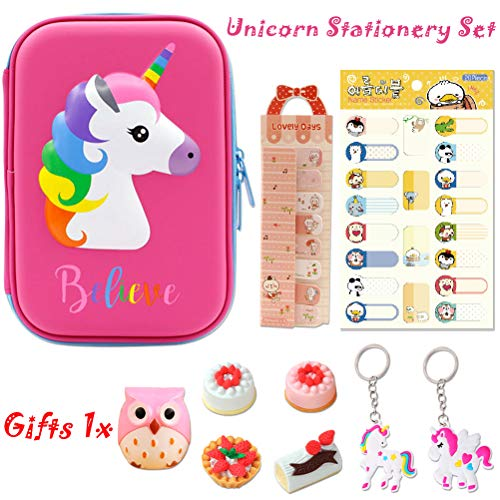 Unicorn Pencil Case- Kid Pencil Case- Unicorn Stationery Comes with Unicorn Keychains,Note Paper, Name Labels Stickers and Eraser Give a Gift Pencil Sharpener School Supplies for Children Presents