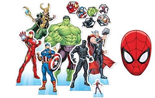 Marvel Avengers Offiziell Tischplatte Pappaufsteller Party Packung mit 7 Stück (enthält: Black Panther, Loki, Captain America, Ant Man, Iron Man, Thor und Hulk) Enthält 6X4 (15X10cm) starfoto