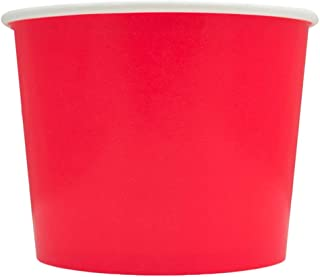 Red Paper Ice Cream Cups - 12 oz Disposable Dessert Bowls - Perfect For Your Yummy Foods! Many Colors & Sizes - Frozen Dessert Supplies - 50 Count