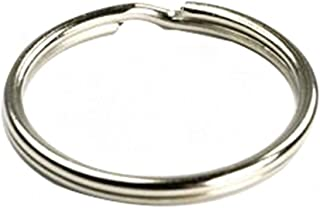 Ocharzy Silver Steel Round Edged Keychain Keyrings (100PCS, 1.5 inches)