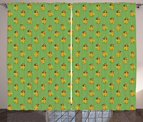 ABAKUHAUS Hawaii Gordijnen, Meisjes dansen rieten rokjes, Woonkamer Slaapkamer Raamgordijnen 2-delige set, 280 x 245 cm, Veelkleurig