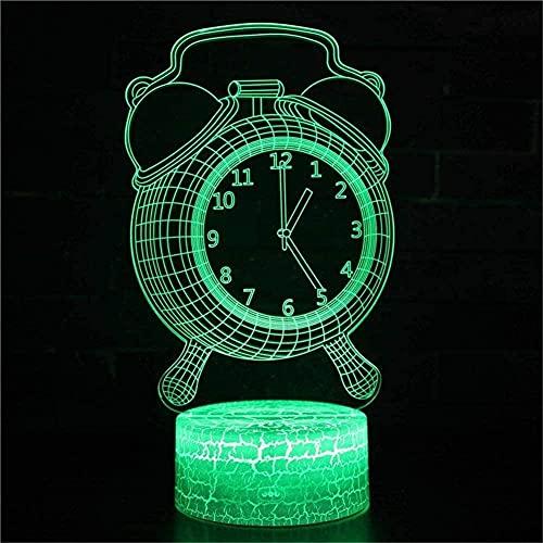 Lonfencr Mesa de luces de noche despertador Iluminación interior Lámparas de escritorio 16 cambio de color regalos para niños USB botón táctil