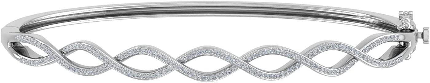 1/2 Carat Twisted Diamond Bangle Bracelet in 14K Gold