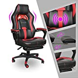 Video Gaming Chair Racing Recliner - Ergonomic Adjustable Armrest Swivel High Back Footrest with Headrest Lumbar Support Leather Breathable Bucket Cushion Office Computer BIFMA (Red Massage)