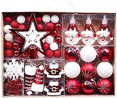 Valery Madelyn 70 Piezas Bolas de Navidad de 3-6 cm, Adornos Navideños para Arbol, Decoración de Bolas de Navidad Inastillable Plástico de Rojo y Blanco, Regalos de Colgantes de Navidad (Tradicional)