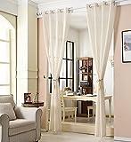 WOLTU® VH5861cm-2, 2er Set Gardinen transparent mit Ösen Leinen Optik, Doppelpack Ösenschal Vorhang Stores Voile Fensterschal Dekoschal für Wohnzimmer Kinderzimmer Schlafzimmer, 140x245 cm, Crème - 5