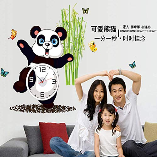 GWFVA Cartoon Muur Kunst Cartoon Strips Sticker Klok Creatieve Sticker Panda Care 30 * 90cm