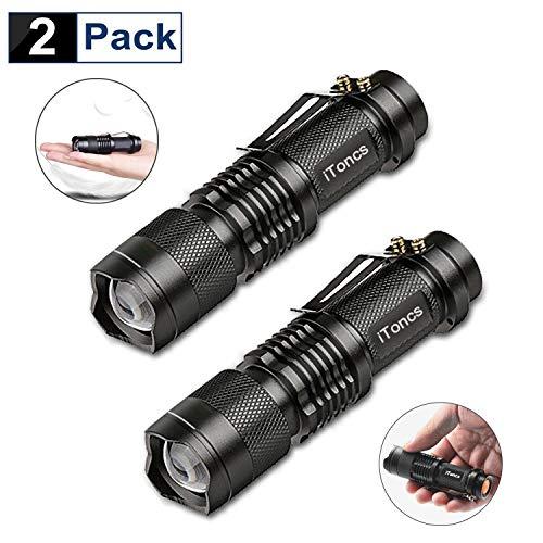 LED Taschenlampe Klein, iToncs Extrem Hell Taktische Taschenlampe mit 3 Modi,Tragbare Zoombar Mini Taschenlampe LED Wasserdichte handlampe, Legierung Taschenlampen kinder für Geschenk Camping(2 Stück)